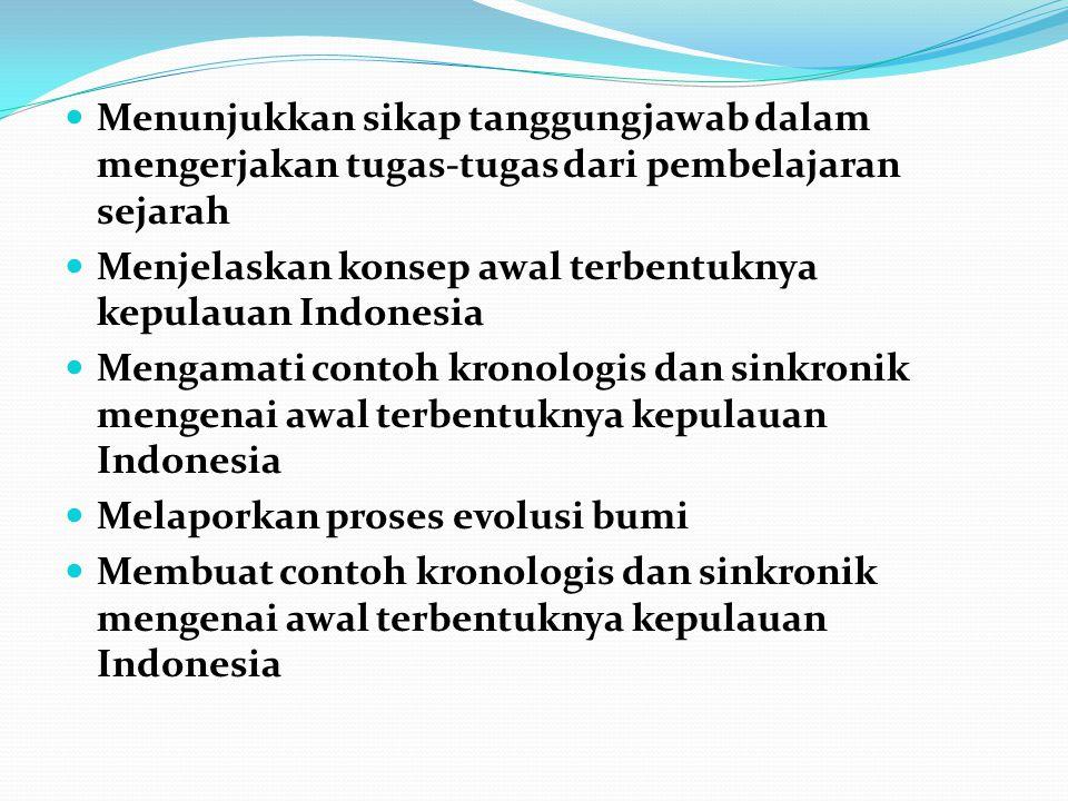 Menunjukkan sikap tanggungjawab dalam mengerjakan tugas-tugas dari pembelajaran sejarah Menjelaskan konsep awal terbentuknya kepulauan Indonesia Menga