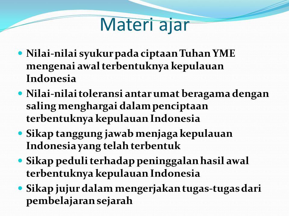 Materi ajar Nilai-nilai syukur pada ciptaan Tuhan YME mengenai awal terbentuknya kepulauan Indonesia Nilai-nilai toleransi antar umat beragama dengan
