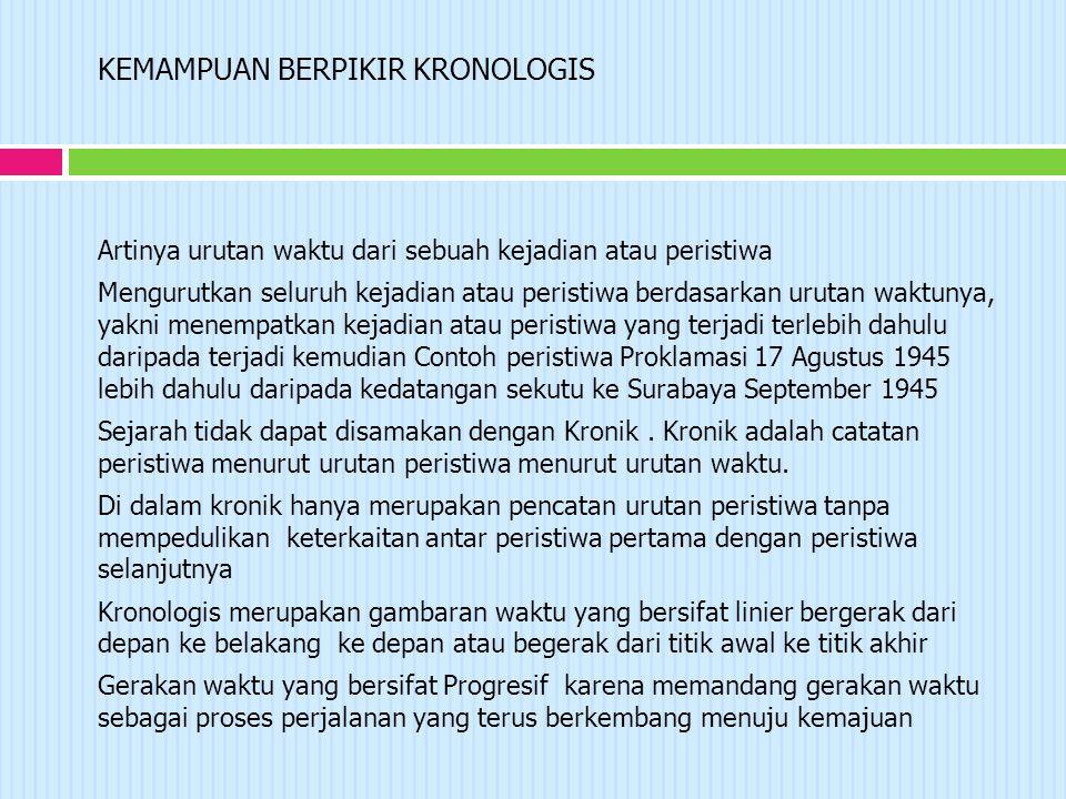 KEMAMPUAN BERPIKIR KRONOLOGIS Artinya urutan waktu dari sebuah kejadian atau peristiwa Mengurutkan seluruh kejadian atau peristiwa berdasarkan urutan waktunya, yakni menempatkan kejadian atau peristiwa yang terjadi terlebih dahulu daripada terjadi kemudian Contoh peristiwa Proklamasi 17 Agustus 1945 lebih dahulu daripada kedatangan sekutu ke Surabaya September 1945 Sejarah tidak dapat disamakan dengan Kronik.