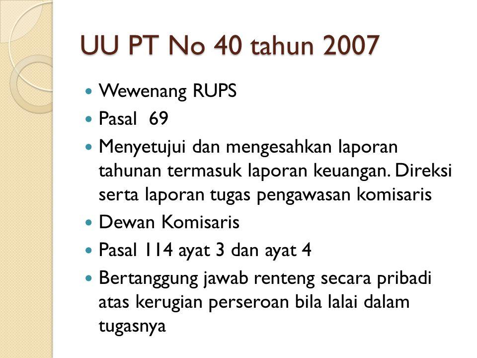 UU PT No 40 tahun 2007 Wewenang RUPS Pasal 69 Menyetujui dan mengesahkan laporan tahunan termasuk laporan keuangan. Direksi serta laporan tugas pengaw