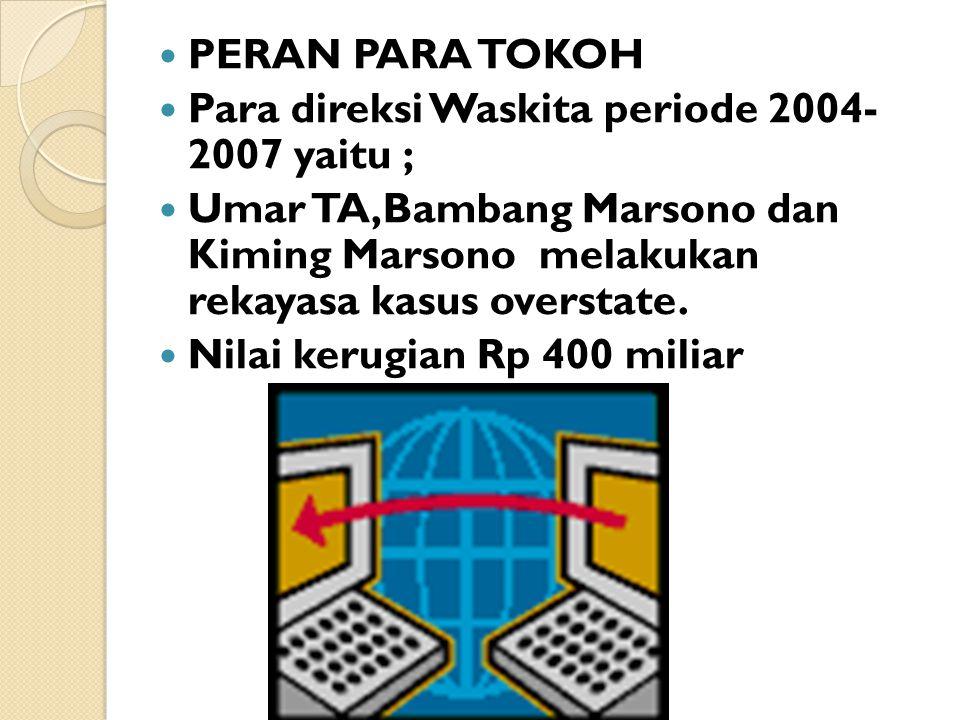 PERAN PARA TOKOH Para direksi Waskita periode 2004- 2007 yaitu ; Umar TA,Bambang Marsono dan Kiming Marsono melakukan rekayasa kasus overstate. Nilai