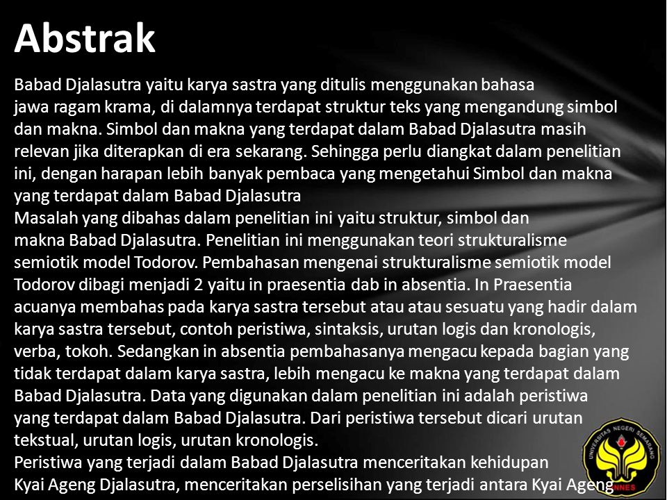 Kata Kunci Struktur, Simbol dan makna, Babad Djalasutra