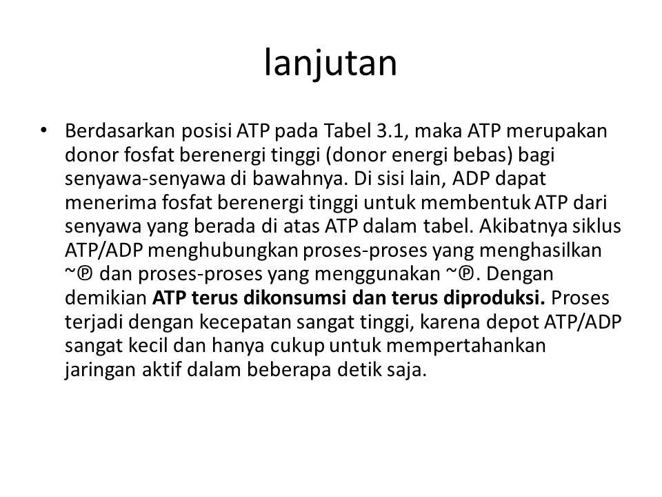 lanjutan Berdasarkan posisi ATP pada Tabel 3.1, maka ATP merupakan donor fosfat berenergi tinggi (donor energi bebas) bagi senyawa-senyawa di bawahnya
