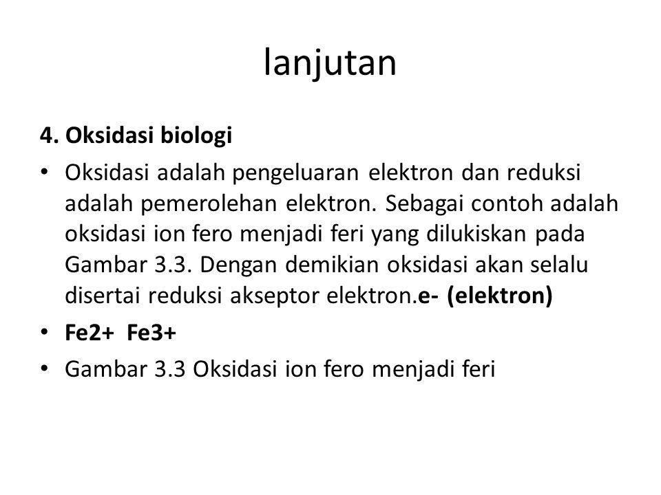 lanjutan 4. Oksidasi biologi Oksidasi adalah pengeluaran elektron dan reduksi adalah pemerolehan elektron. Sebagai contoh adalah oksidasi ion fero men