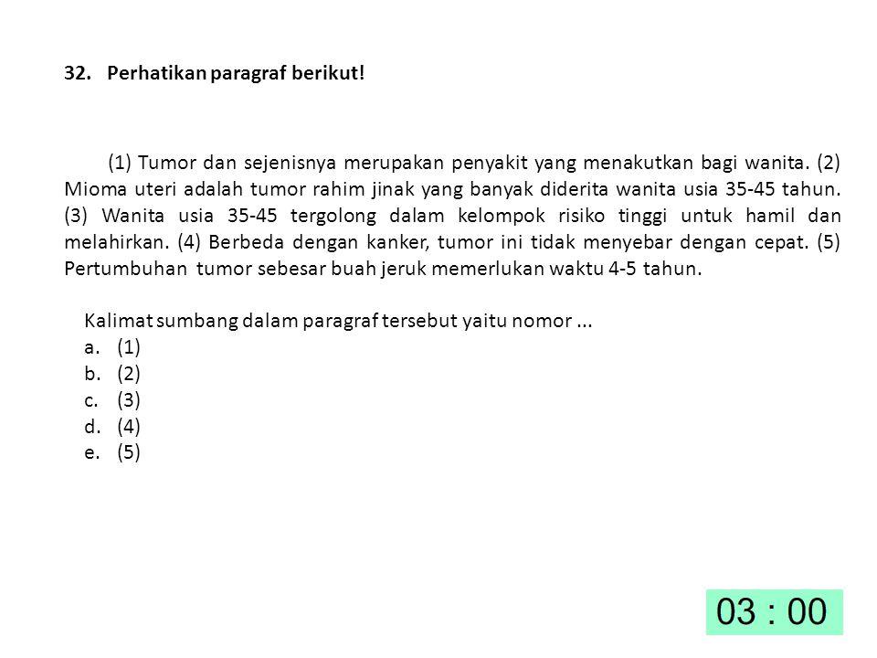 32. Perhatikan paragraf berikut! (1) Tumor dan sejenisnya merupakan penyakit yang menakutkan bagi wanita. (2) Mioma uteri adalah tumor rahim jinak yan