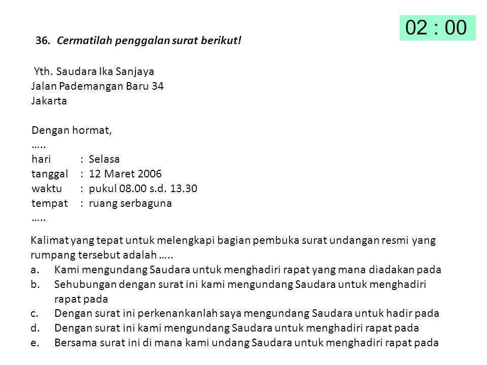 36. Cermatilah penggalan surat berikut! Yth. Saudara Ika Sanjaya Jalan Pademangan Baru 34 Jakarta Dengan hormat, ….. hari : Selasa tanggal : 12 Maret