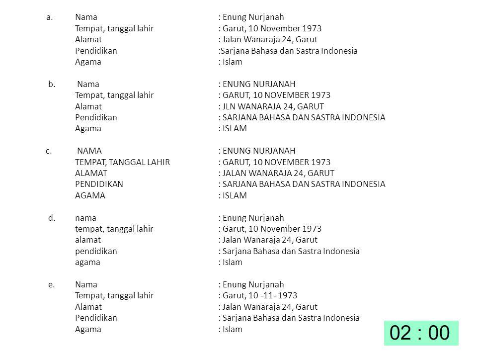a. Nama: Enung Nurjanah Tempat, tanggal lahir: Garut, 10 November 1973 Alamat: Jalan Wanaraja 24, Garut Pendidikan:Sarjana Bahasa dan Sastra Indonesia