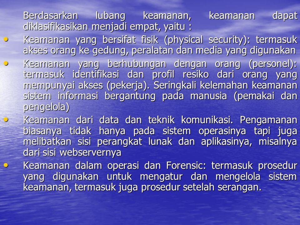 Berdasarkan lubang keamanan, keamanan dapat diklasifikasikan menjadi empat, yaitu : Keamanan yang bersifat fisik (physical security): termasuk akses o