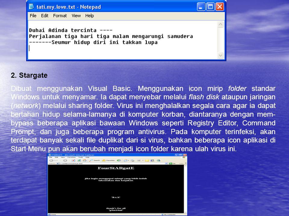 2. Stargate Dibuat menggunakan Visual Basic. Menggunakan icon mirip folder standar Windows untuk menyamar. Ia dapat menyebar melalui flash disk ataupu