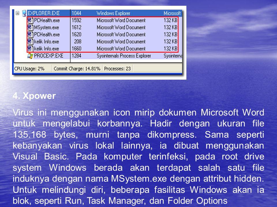 4. Xpower Virus ini menggunakan icon mirip dokumen Microsoft Word untuk mengelabui korbannya. Hadir dengan ukuran file 135.168 bytes, murni tanpa diko