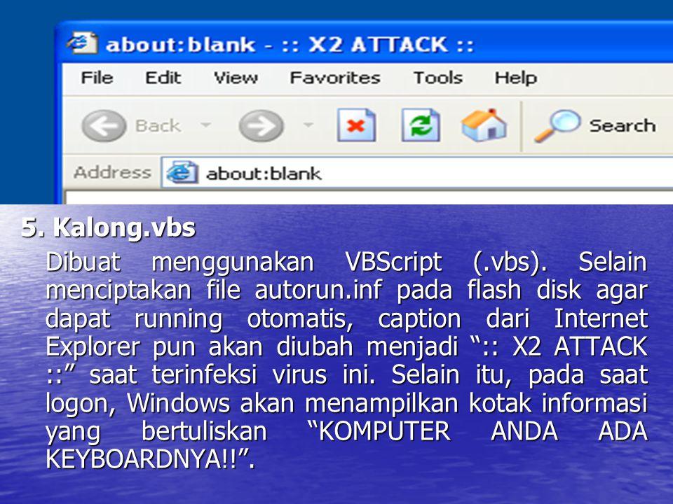 5. Kalong.vbs Dibuat menggunakan VBScript (.vbs). Selain menciptakan file autorun.inf pada flash disk agar dapat running otomatis, caption dari Intern