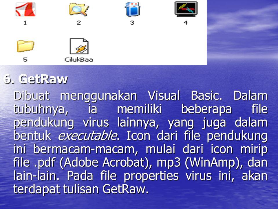 6. GetRaw Dibuat menggunakan Visual Basic. Dalam tubuhnya, ia memiliki beberapa file pendukung virus lainnya, yang juga dalam bentuk executable. Icon