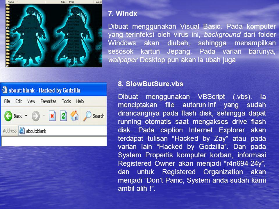 7. Windx Dibuat menggunakan Visual Basic. Pada komputer yang terinfeksi oleh virus ini, background dari folder Windows akan diubah, sehingga menampilk