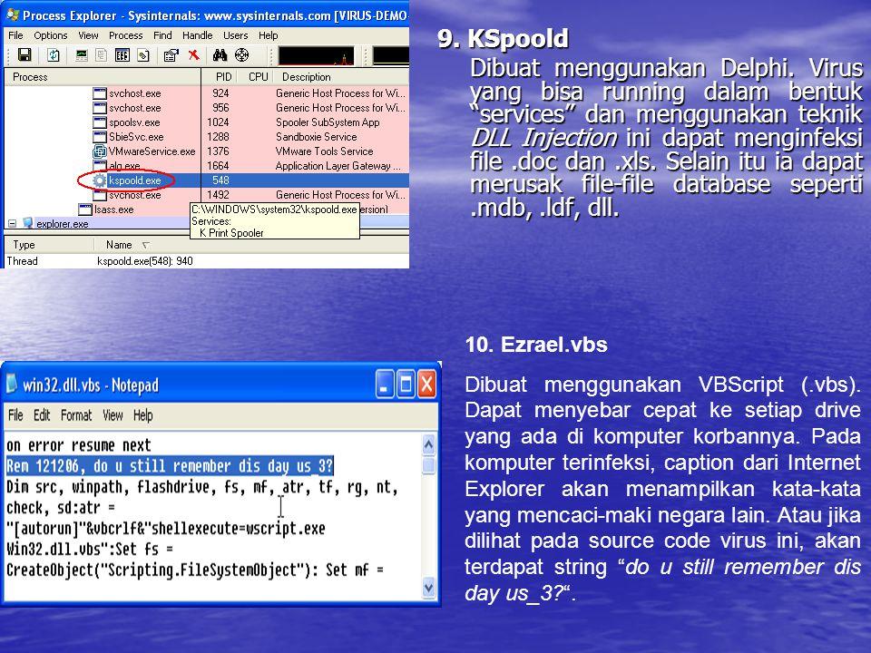 """9. KSpoold Dibuat menggunakan Delphi. Virus yang bisa running dalam bentuk """"services"""" dan menggunakan teknik DLL Injection ini dapat menginfeksi file."""