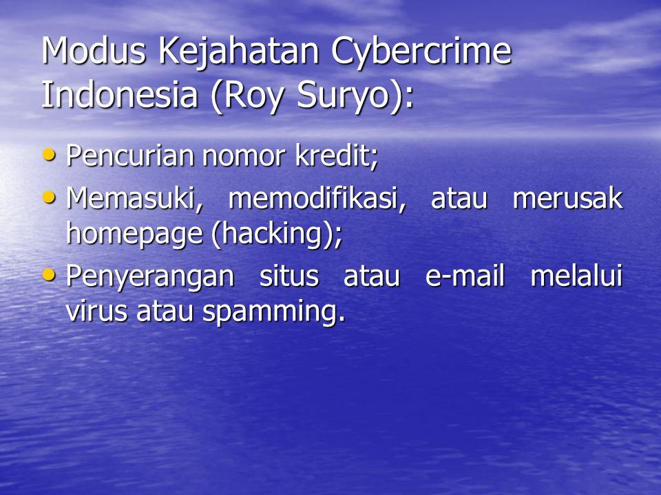 Modus Kejahatan Cybercrime Indonesia (Roy Suryo): Pencurian nomor kredit; Pencurian nomor kredit; Memasuki, memodifikasi, atau merusak homepage (hacking); Memasuki, memodifikasi, atau merusak homepage (hacking); Penyerangan situs atau e-mail melalui virus atau spamming.
