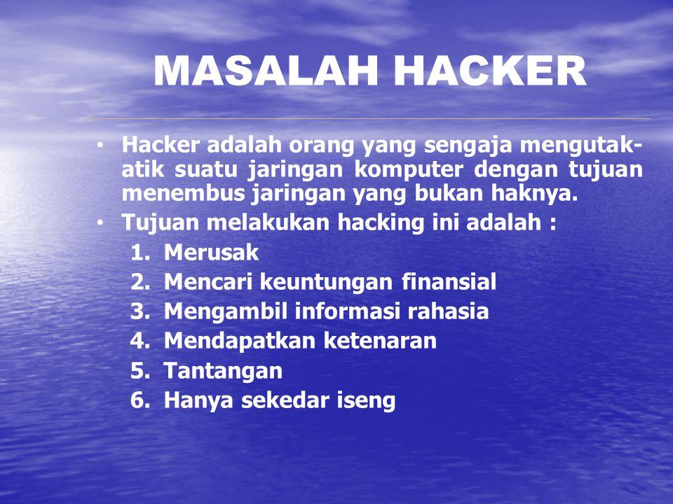MASALAH HACKER Hacker adalah orang yang sengaja mengutak- atik suatu jaringan komputer dengan tujuan menembus jaringan yang bukan haknya. Tujuan melak