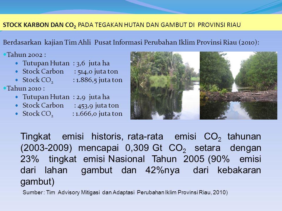 Berdasarkan kajian Tim Ahli Pusat Informasi Perubahan Iklim Provinsi Riau (2010): Tahun 2002 : Tutupan Hutan : 3,6 juta ha Stock Carbon : 514,0 juta ton Stock CO 2 : 1.886,5 juta ton Tahun 2010 : Tutupan Hutan : 2,9 juta ha Stock Carbon : 453,9 juta ton Stock CO 2 : 1.666,0 juta ton STOCK KARBON DAN CO 2 PADA TEGAKAN HUTAN DAN GAMBUT DI PROVINSI RIAU Tingkat emisi historis, rata-rata emisi CO 2 tahunan (2003-2009) mencapai 0,309 Gt CO 2 setara dengan 23% tingkat emisi Nasional Tahun 2005 (90% emisi dari lahan gambut dan 42%nya dari kebakaran gambut) Sumber : Tim Advisory Mitigasi dan Adaptasi Perubahan Iklim Provinsi Riau, 2010)