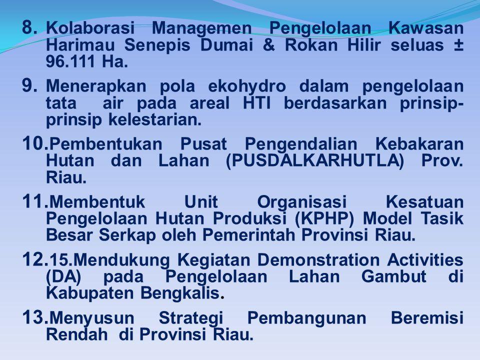 8. Kolaborasi Managemen Pengelolaan Kawasan Harimau Senepis Dumai & Rokan Hilir seluas ± 96.111 Ha.