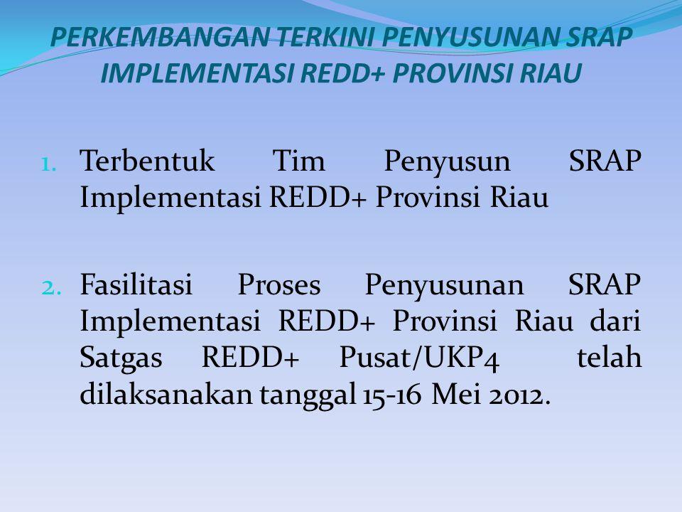 PERKEMBANGAN TERKINI PENYUSUNAN SRAP IMPLEMENTASI REDD+ PROVINSI RIAU 1.