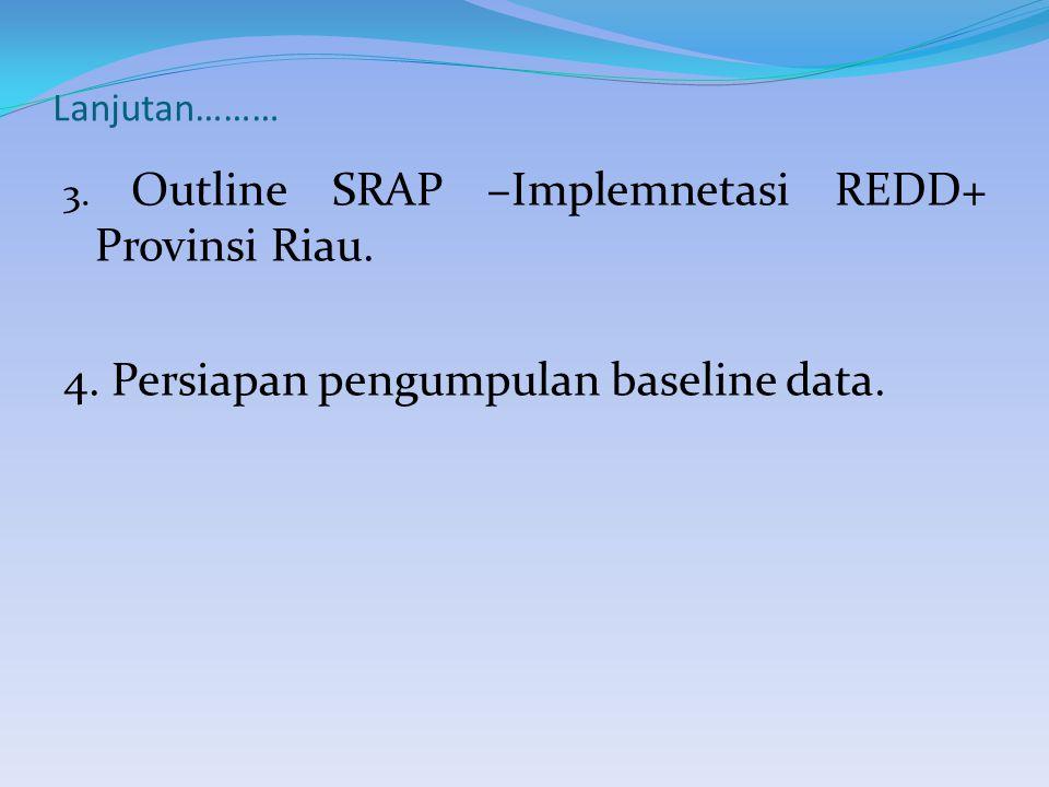 Lanjutan……… 3. Outline SRAP –Implemnetasi REDD+ Provinsi Riau.