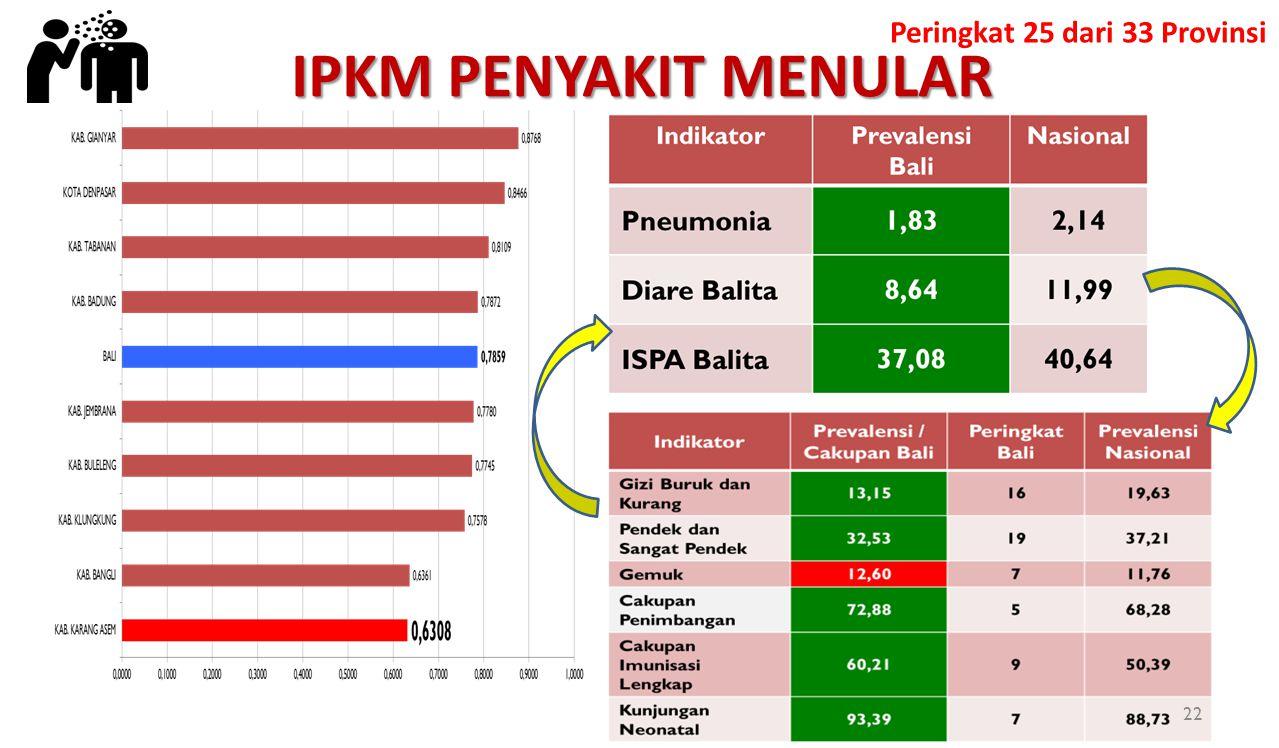 IPKM PENYAKIT MENULAR Peringkat 25 dari 33 Provinsi 22