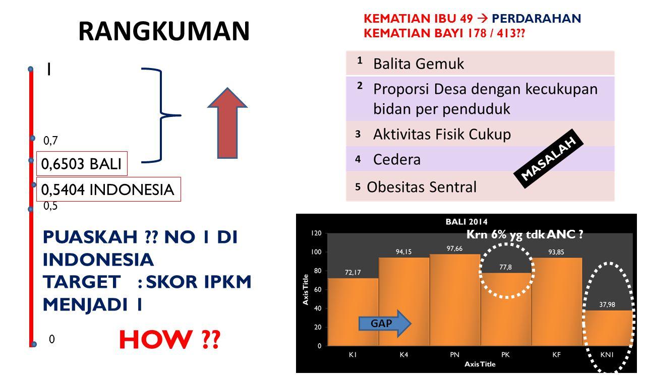 RANGKUMAN 28 1 0 0,5 0,5404 INDONESIA 0,6503 BALI 0,7 PUASKAH ?? NO 1 DI INDONESIA TARGET : SKOR IPKM MENJADI 1 HOW ?? MASALAH KEMATIAN IBU 49  PERDA