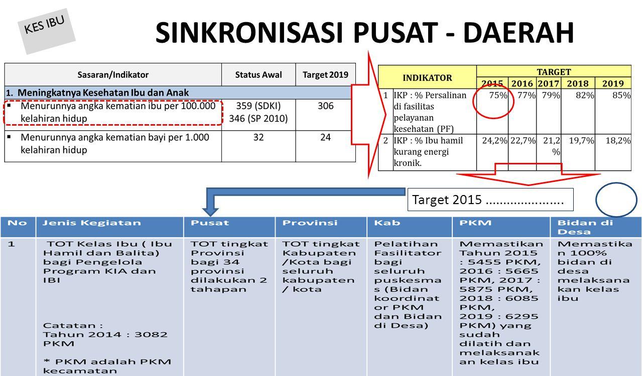 SINKRONISASI PUSAT - DAERAH 50 Target 2015...................... KES IBU