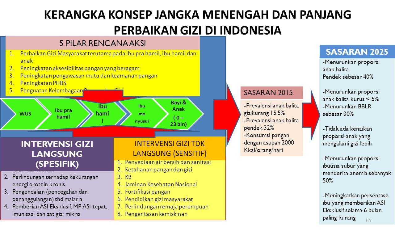 KERANGKA KONSEP JANGKA MENENGAH DAN PANJANG PERBAIKAN GIZI DI INDONESIA 1.Perbaikan Gizi Masyarakat terutama pada ibu pra hamil, ibu hamil dan anak 2.