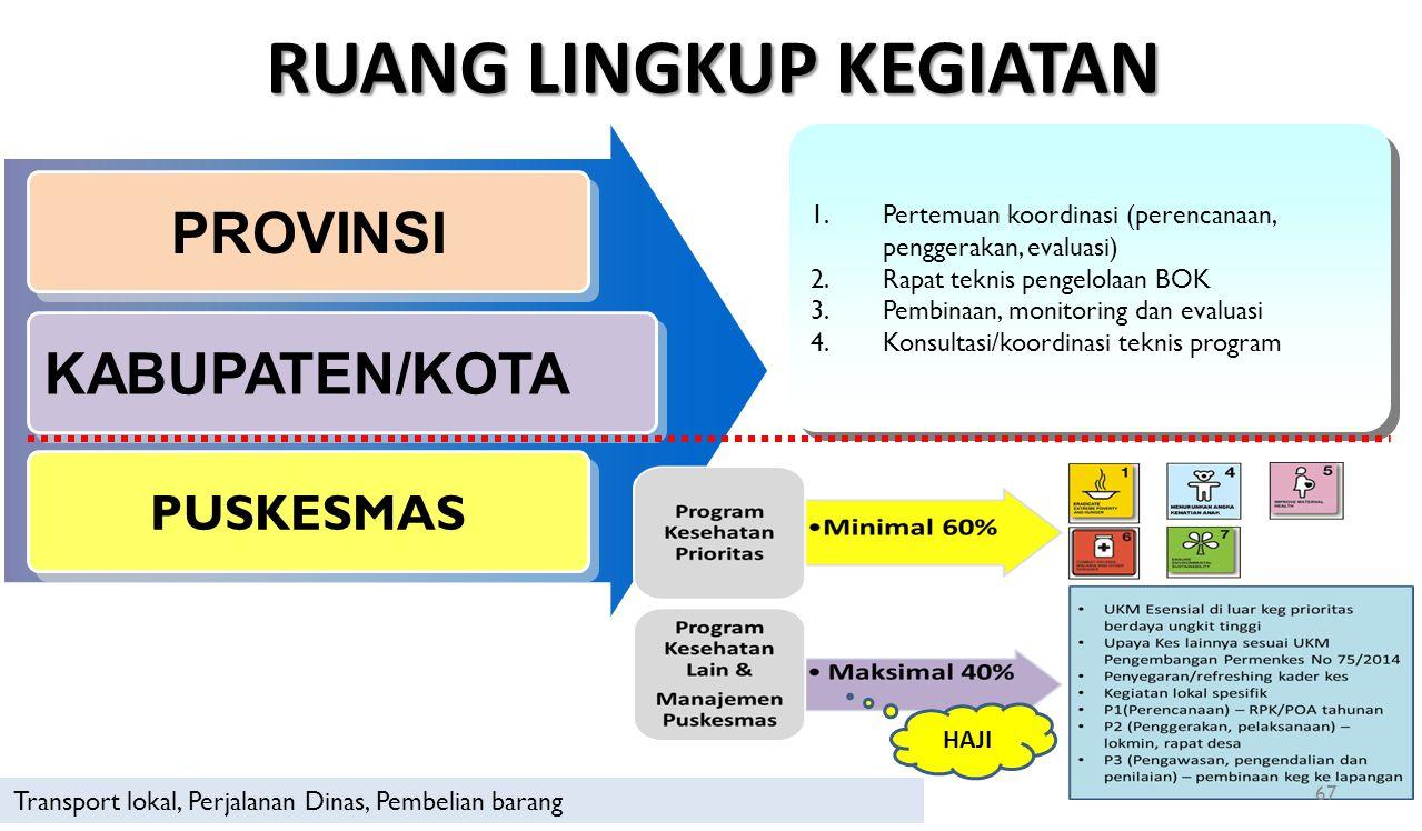 RUANG LINGKUP KEGIATAN PROVINSI KABUPATEN/KOTA PUSKESMAS 1.Pertemuan koordinasi (perencanaan, penggerakan, evaluasi) 2.Rapat teknis pengelolaan BOK 3.