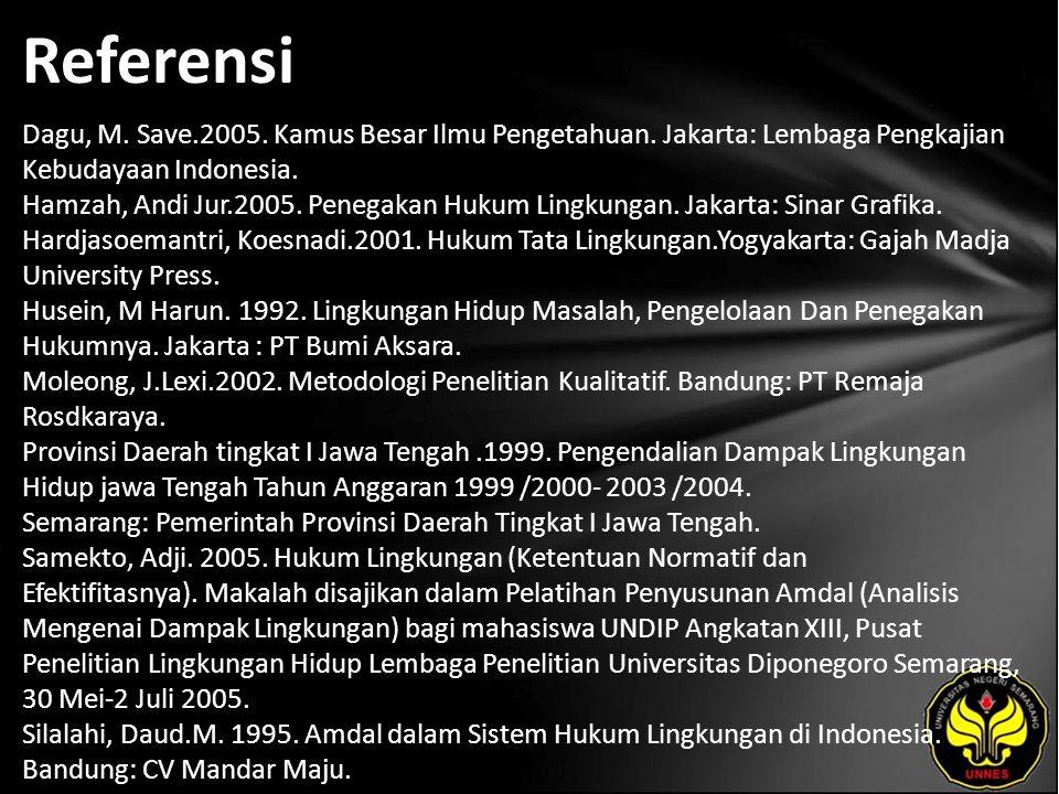 Referensi Dagu, M. Save.2005. Kamus Besar Ilmu Pengetahuan. Jakarta: Lembaga Pengkajian Kebudayaan Indonesia. Hamzah, Andi Jur.2005. Penegakan Hukum L