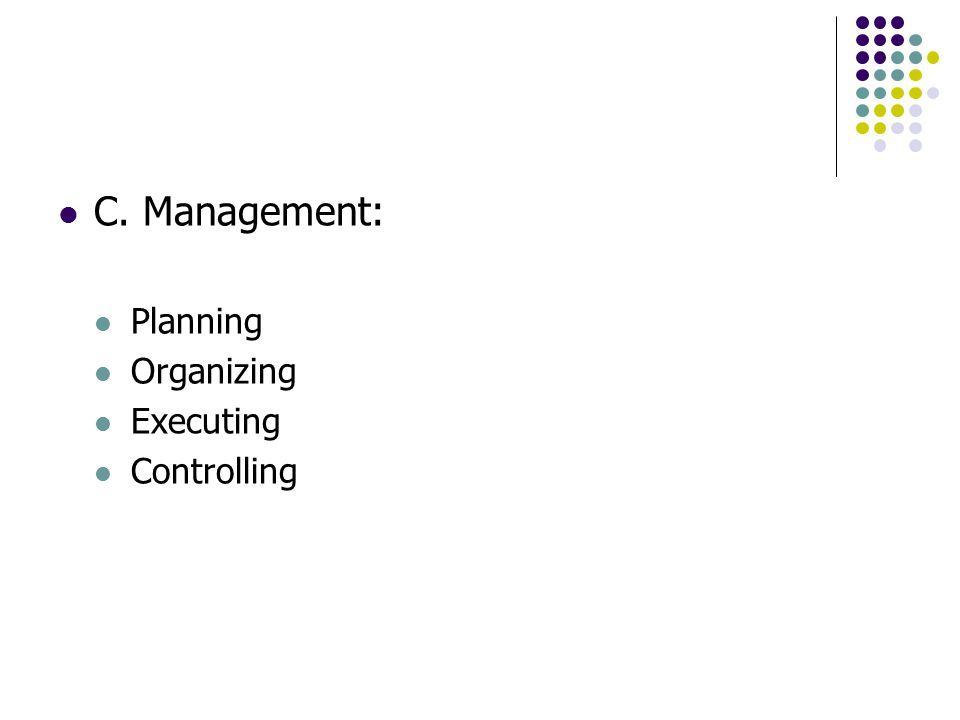 C. Management: Planning Organizing Executing Controlling