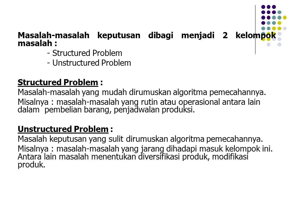 Masalah-masalah keputusan dibagi menjadi 2 kelompok masalah : - Structured Problem - Unstructured Problem Structured Problem : Masalah-masalah yang mu
