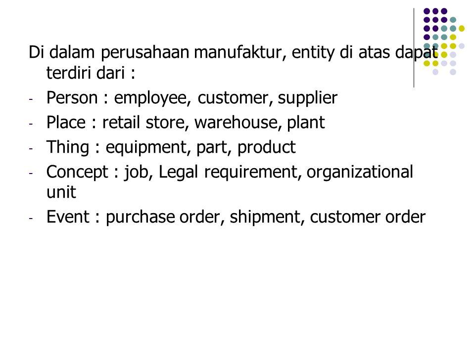 Di dalam perusahaan manufaktur, entity di atas dapat terdiri dari : - Person : employee, customer, supplier - Place : retail store, warehouse, plant -