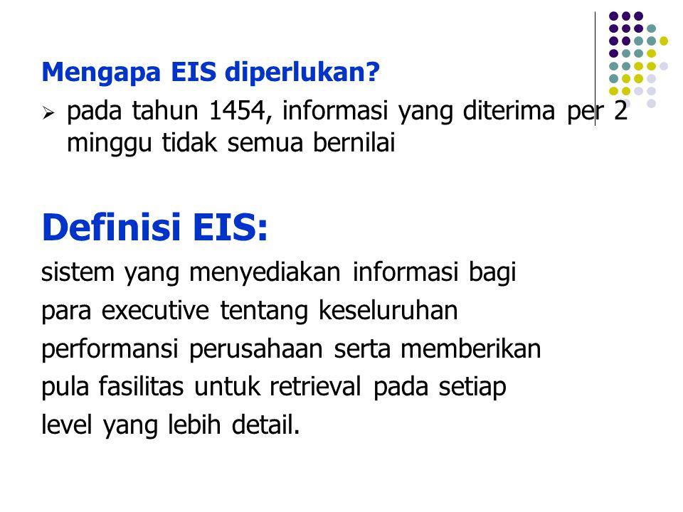 Mengapa EIS diperlukan?  pada tahun 1454, informasi yang diterima per 2 minggu tidak semua bernilai Definisi EIS: sistem yang menyediakan informasi b