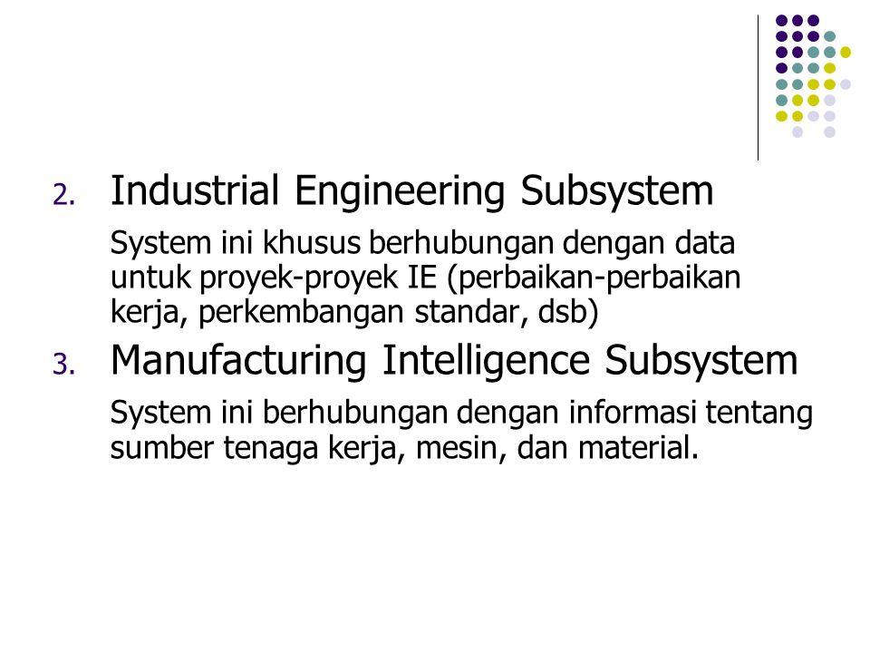 2. Industrial Engineering Subsystem System ini khusus berhubungan dengan data untuk proyek-proyek IE (perbaikan-perbaikan kerja, perkembangan standar,