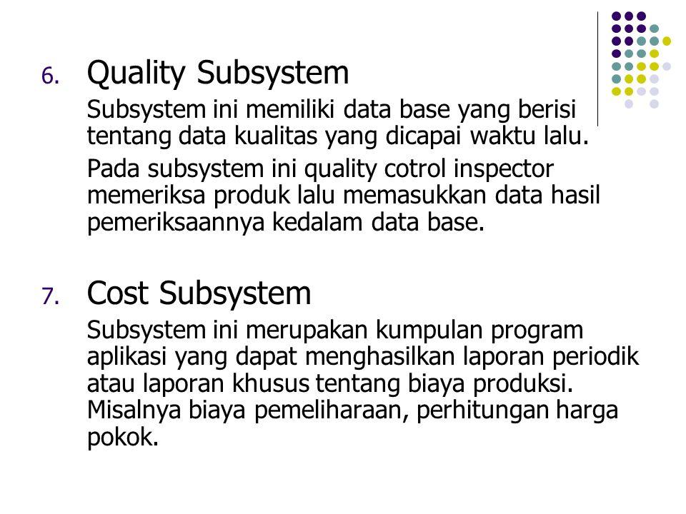 6. Quality Subsystem Subsystem ini memiliki data base yang berisi tentang data kualitas yang dicapai waktu lalu. Pada subsystem ini quality cotrol ins