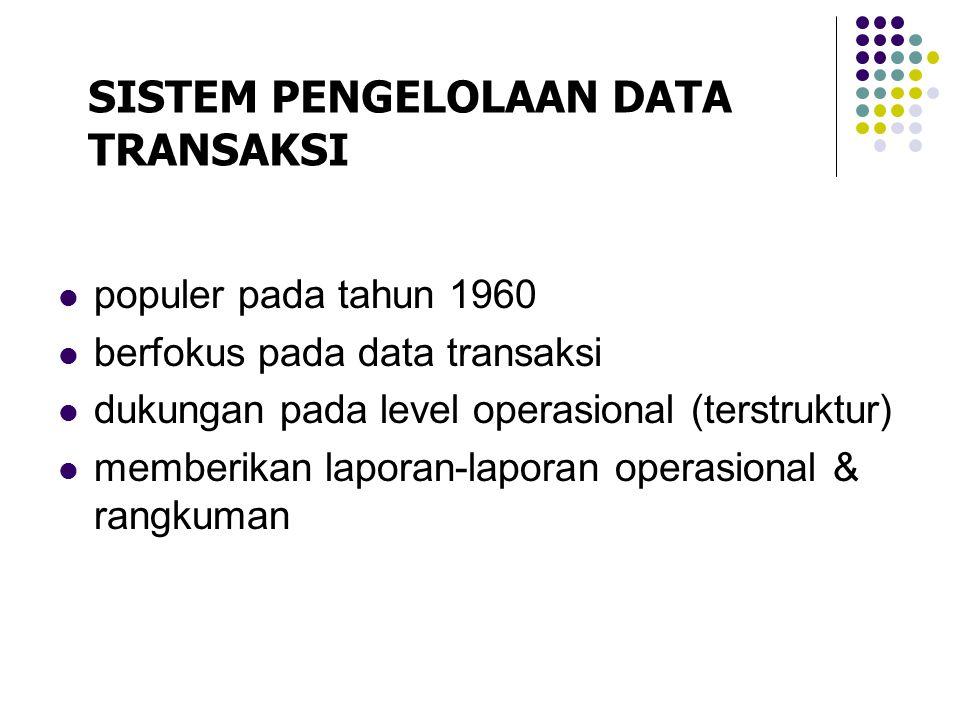 populer pada tahun 1960 berfokus pada data transaksi dukungan pada level operasional (terstruktur) memberikan laporan-laporan operasional & rangkuman