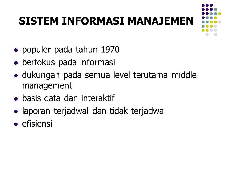 populer pada tahun 1970 berfokus pada informasi dukungan pada semua level terutama middle management basis data dan interaktif laporan terjadwal dan t