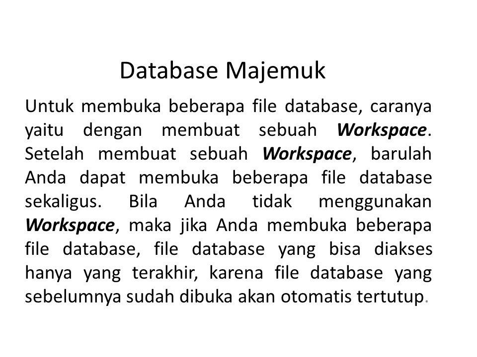 Database Majemuk Untuk membuka beberapa file database, caranya yaitu dengan membuat sebuah Workspace.
