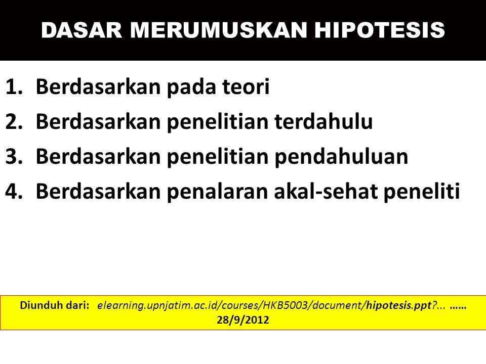 DASAR MERUMUSKAN HIPOTESIS 1.Berdasarkan pada teori 2.Berdasarkan penelitian terdahulu 3.Berdasarkan penelitian pendahuluan 4.Berdasarkan penalaran ak