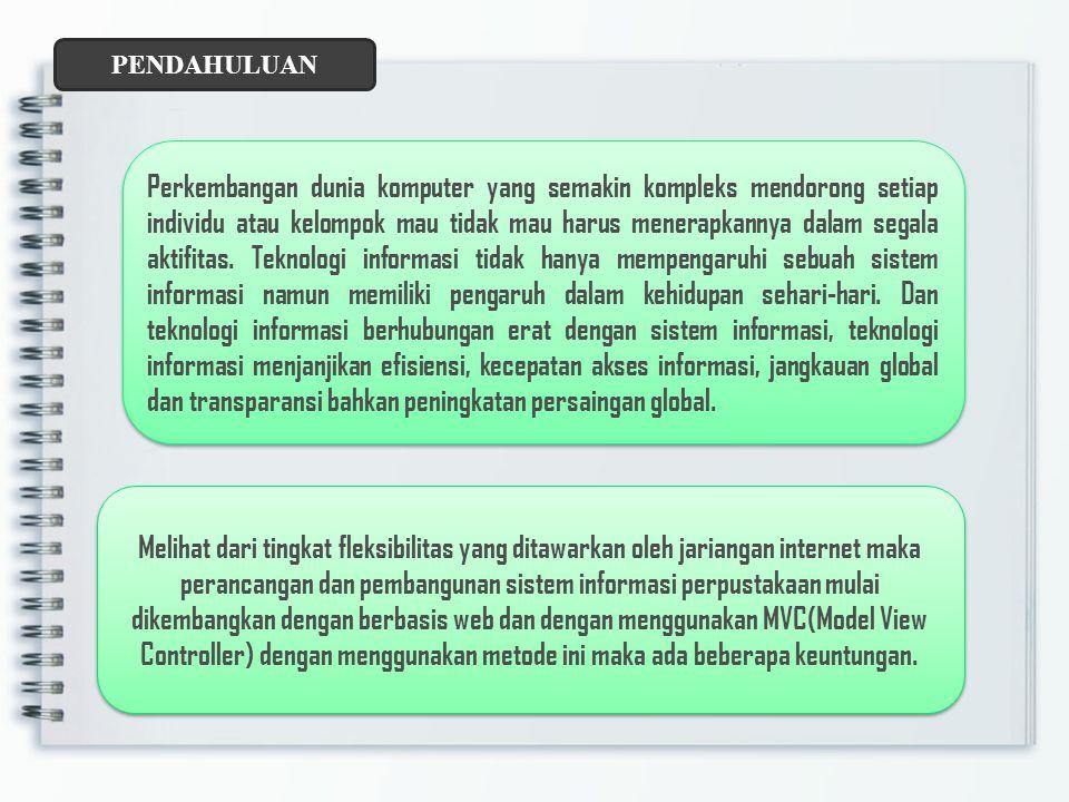 RUMUSAN MASALAH 1.Bagaimana analisis dan desain sistem informasi di perpustakaan berbasis web dengan MVC (Model View Controler).