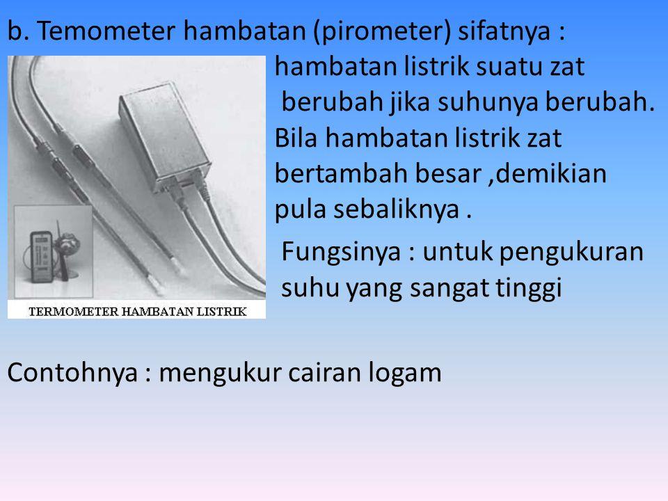 a. Termometer gas sifatnya : Bila dipanaskan dalam rusng tertutup tekanannya akan bertambah fugsinya : untuk mengukur suhu pada termometer gas