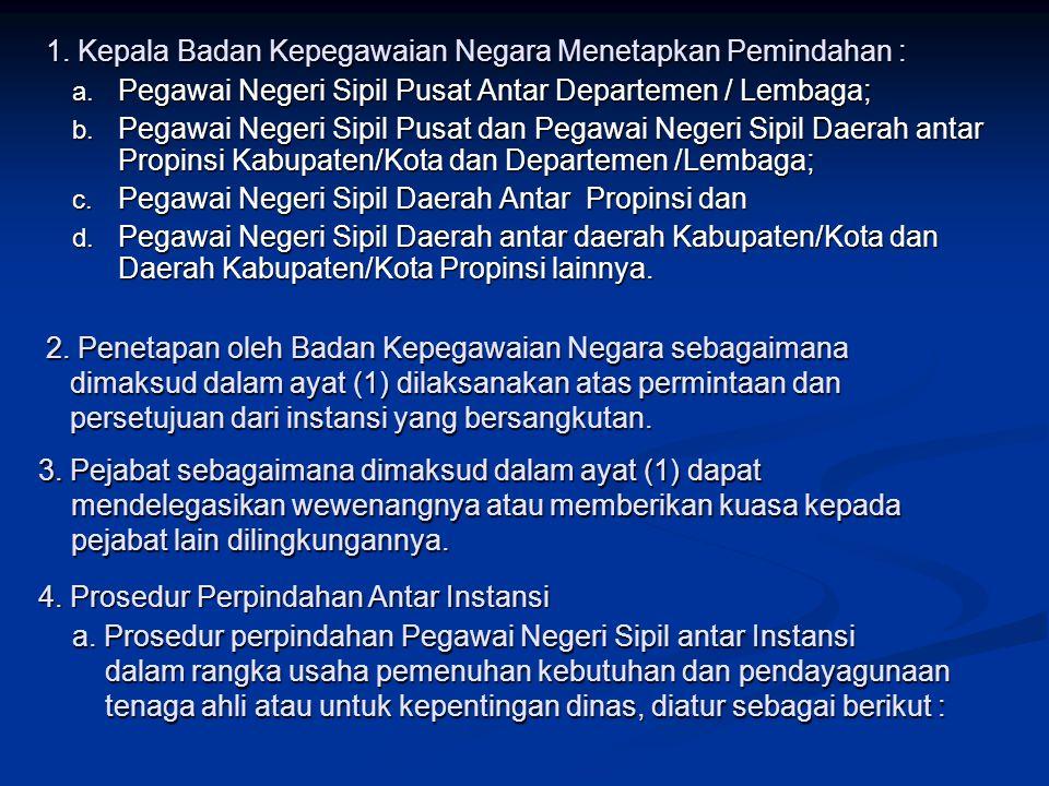 1.Kepala Badan Kepegawaian Negara Menetapkan Pemindahan : a.