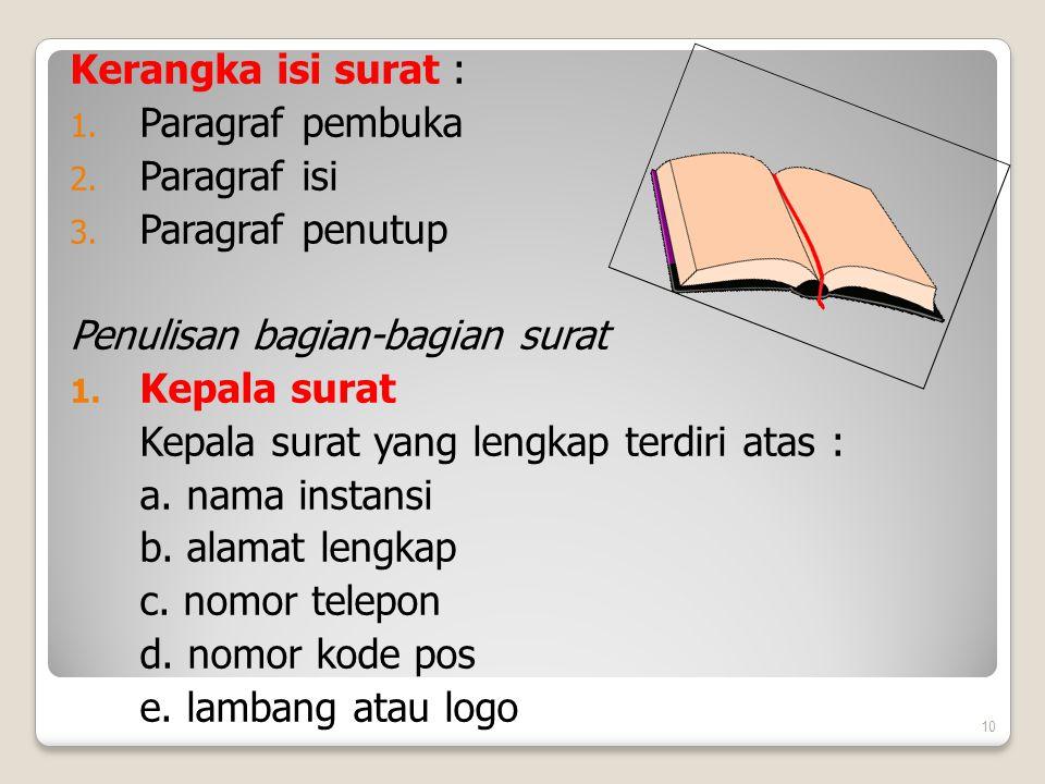 Kerangka isi surat : 1. Paragraf pembuka 2. Paragraf isi 3. Paragraf penutup Penulisan bagian-bagian surat 1. Kepala surat Kepala surat yang lengkap t