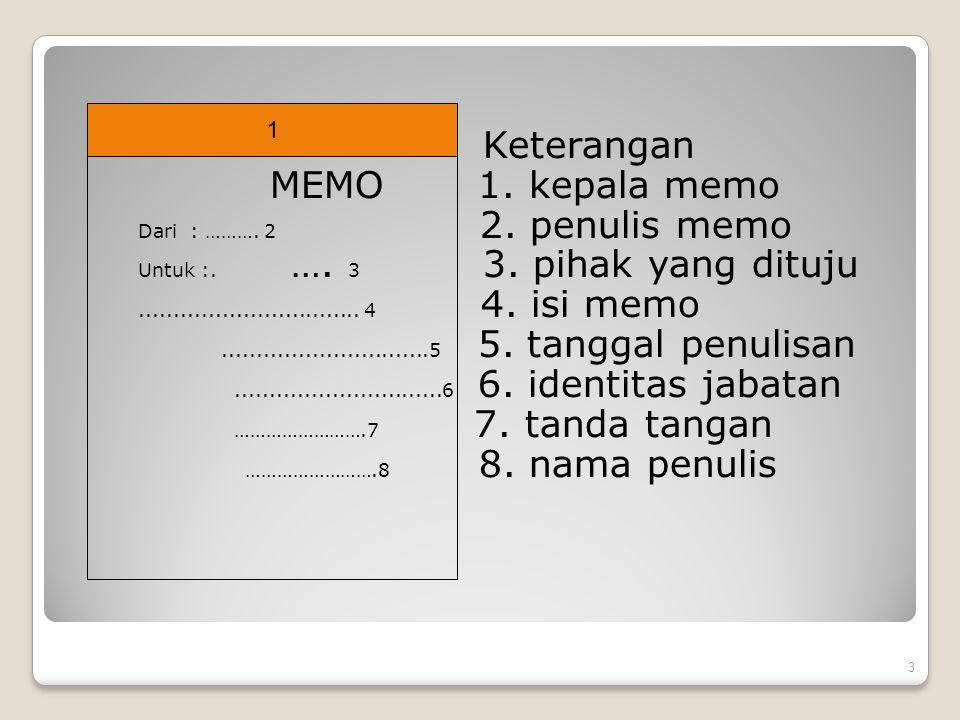 Keterangan MEMO 1. kepala memo Dari : ………. 2 2. penulis memo Untuk :. …. 3 3. pihak yang dituju................................ 4 4. isi memo.........