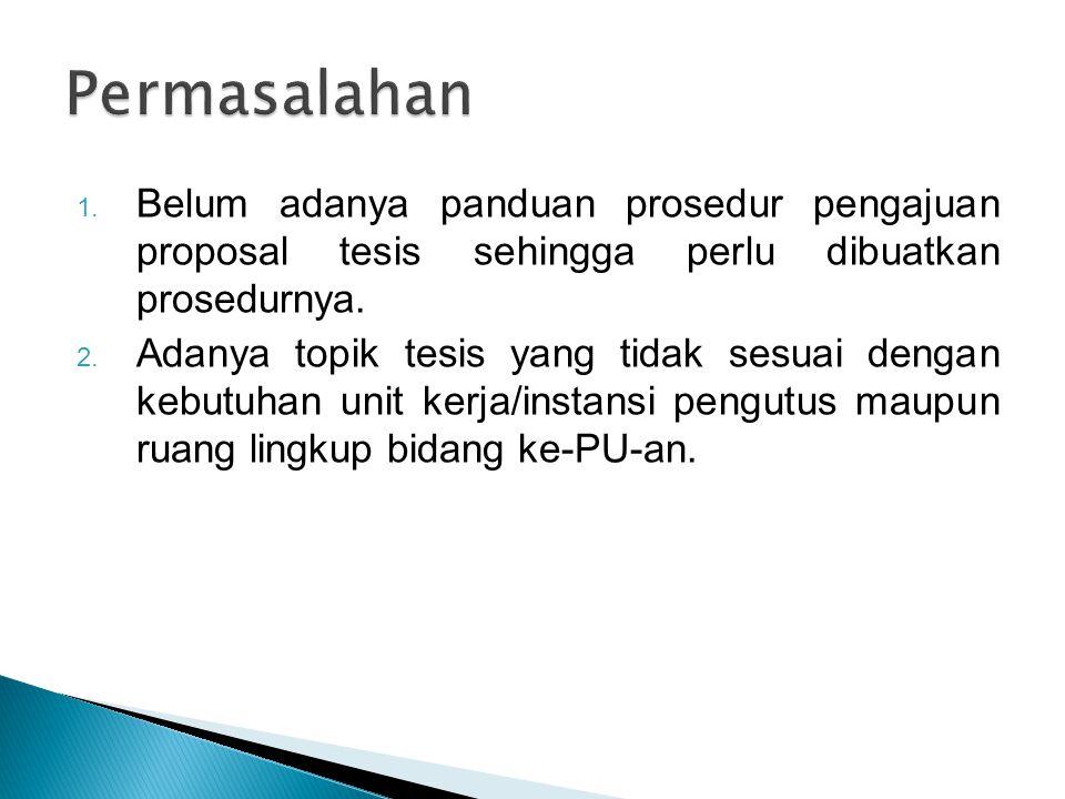 1.Belum adanya panduan prosedur pengajuan proposal tesis sehingga perlu dibuatkan prosedurnya.