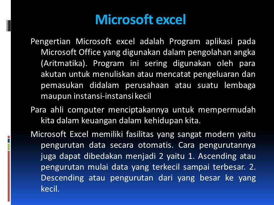 Microsoft excel Pengertian Microsoft excel adalah Program aplikasi pada Microsoft Office yang digunakan dalam pengolahan angka (Aritmatika). Program i