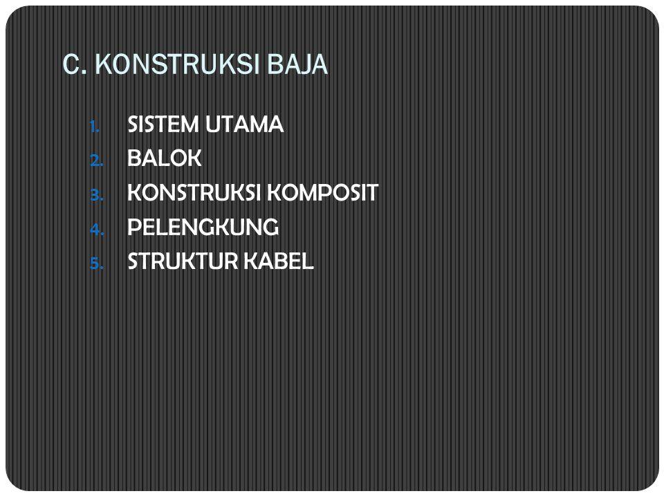 C. KONSTRUKSI BAJA 1. SISTEM UTAMA 2. BALOK 3. KONSTRUKSI KOMPOSIT 4. PELENGKUNG 5. STRUKTUR KABEL