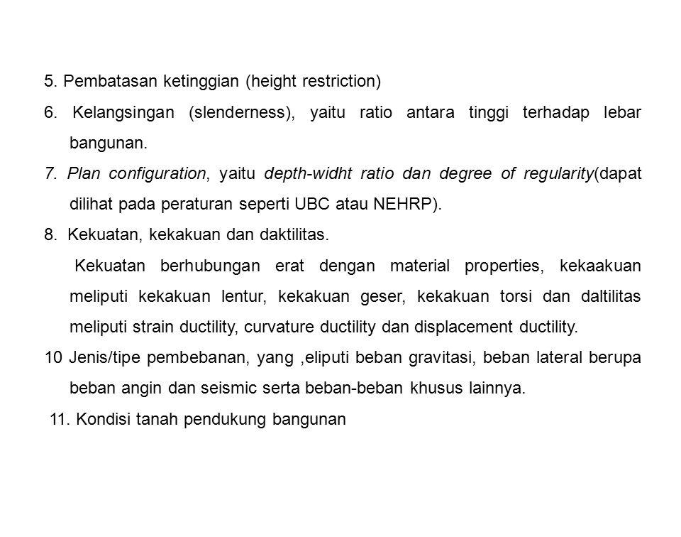 5. Pembatasan ketinggian (height restriction) 6. Kelangsingan (slenderness), yaitu ratio antara tinggi terhadap lebar bangunan. 7. Plan configuration,