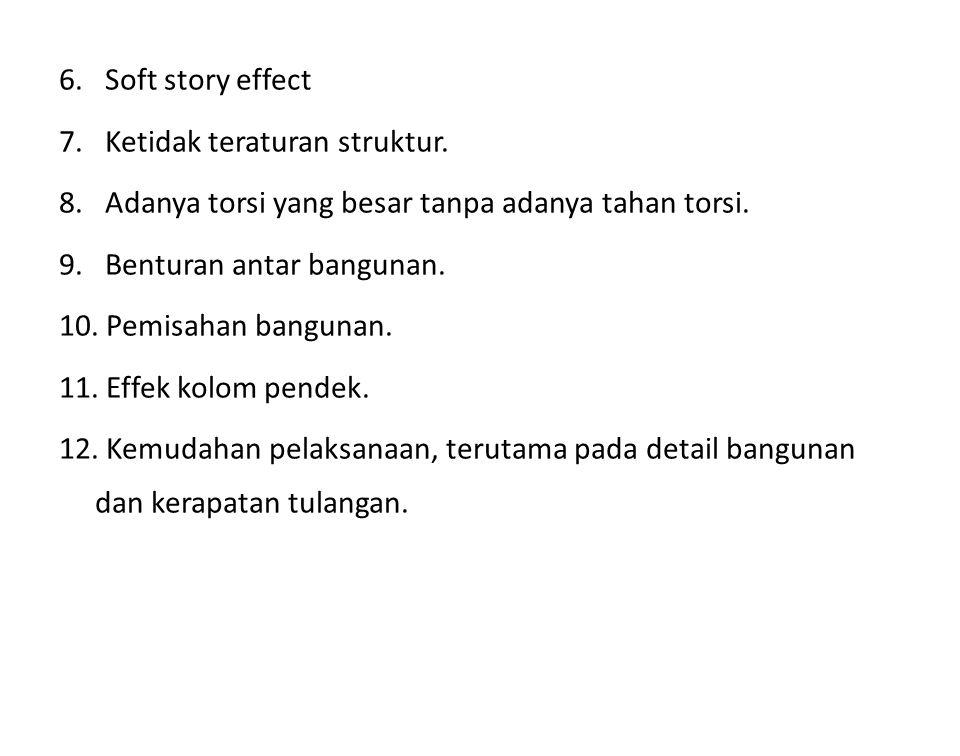 6. Soft story effect 7. Ketidak teraturan struktur. 8. Adanya torsi yang besar tanpa adanya tahan torsi. 9. Benturan antar bangunan. 10. Pemisahan ban